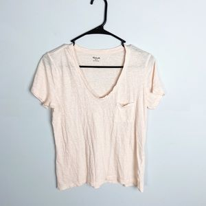 Madewell Light Pink V-Neck Short Sleeve Tee